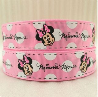Remarkable 1 Metre Minnie Mouse Pink White Ribbon Size 1 Inch Bows Headband Funny Birthday Cards Online Inifodamsfinfo